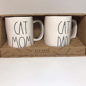 Rae Dunn Coffee Mug Set- Cat Mom and Cat Dad